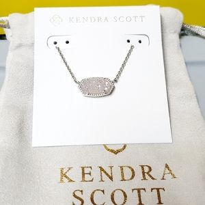 🤍Kendra Scott Silver In Iridescent DRUSY Necklace